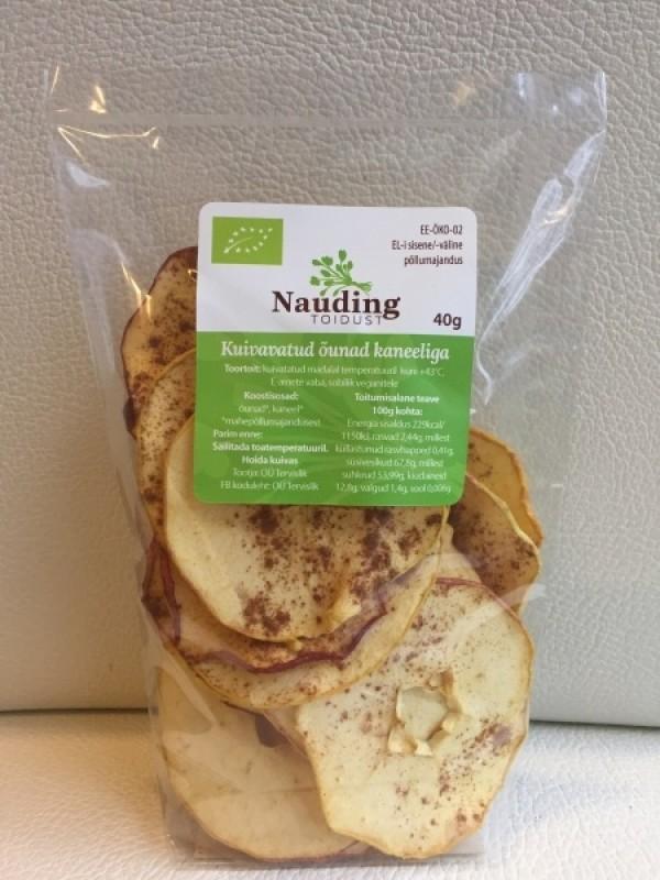 Nauding toidust kuivatatud õunad kaneeliga 40g ÖKO -40%