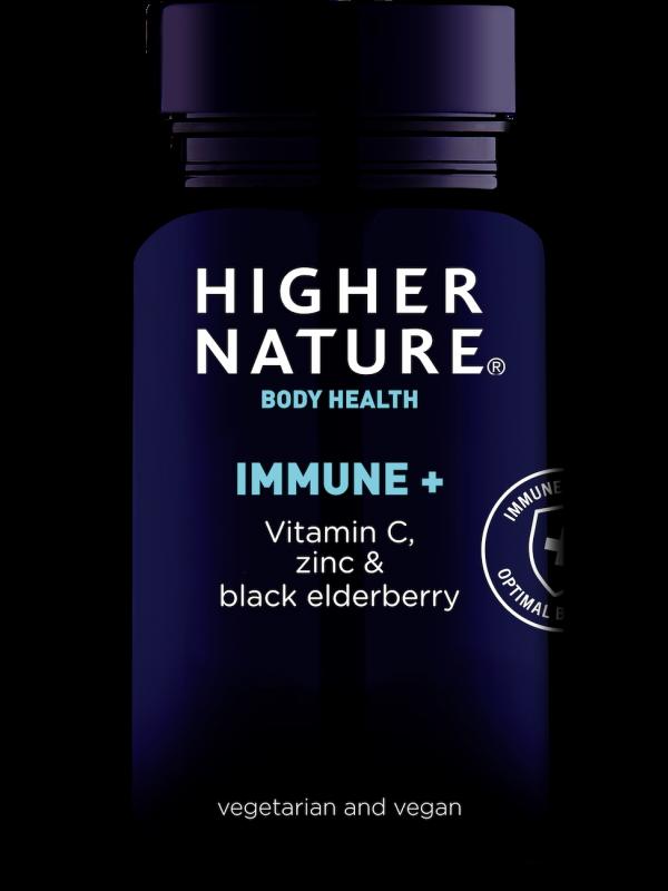 immune + c-vitamiini, tsingi ja musta leedrimarjaga Higher Nature