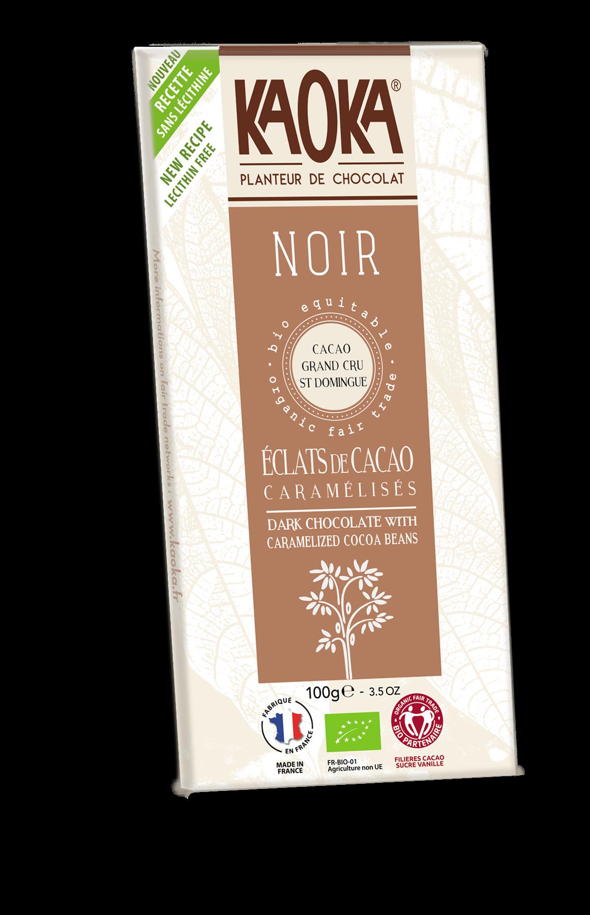 Kaoka tume šokolaad karamelliseeritud kakao tükkidega 100g